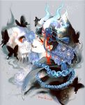 1boy artist_name beads black_butterfly black_hair black_nails blue_fire blue_flower bone bug butterfly closed_mouth demon demon_boy demon_horns facial_mark fang fingernails fire flower grey_background horns insect long_fingernails looking_at_viewer male_focus matsuno_karamatsu mochinu osomatsu-san red_eyes simple_background skull solo tassel upper_body