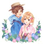 1boy 1girl blonde_hair braid brown_eyes brown_hair djeeta_(granblue_fantasy) flower gran_(granblue_fantasy) granblue_fantasy hair_between_eyes hair_flower hair_ornament hat hood japanese_clothes kimono leaf morning_glory open_mouth plant short_twintails siruphial smile straw_hat twintails vines yukata