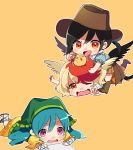 3girls animal animal_on_head bandana bird bird_on_head black_hair black_wings blonde_hair blue_hair blue_shirt boots brown_footwear brown_headwear brown_skirt chibi chick commentary_request cowboy_boots cowboy_hat drawing dress feathered_wings feet_up frills girl_on_top green_headwear haniyasushin_keiki hat head_scarf highres holding kurokoma_saki long_hair lying multicolored_hair multiple_girls niwatari_kutaka on_ground on_head on_stomach open_mouth orange_skirt outstretched_arms pink_eyes pleated_skirt ponytail red_eyes redhead sandals satoupote shirt skirt smile sweatdrop touhou wavy_mouth white_shirt wings yellow_dress