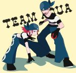 1boy 1girl black_footwear black_gloves blue_bandana blue_eyes brown_eyes collarbone english_text flat_chest gloves holding holding_poke_ball legs_apart looking_at_viewer medium_hair pink_hair poke_ball poke_ball_(generic) pokemon pokemon_(game) pokemon_rse rifu_(hunihuni1130) shadow shoes simple_background standing team_aqua team_aqua_grunt team_aqua_uniform yellow_background