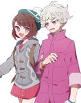 1boy 1girl arm_grab backpack bag bangs beet_(pokemon) bracelet bright_pupils brown_eyes brown_hair cardigan commentary dress frown green_headwear grey_sweater half-closed_eyes hat highres hood hood_down jewelry long_sleeves looking_at_another messy_hair nanashiba_(banntlla) open_mouth pink_dress pokemon pokemon_(game) pokemon_swsh purple_coat short_dress short_hair silver_hair simple_background smile standing sweatdrop sweater swept_bangs tam_o'_shanter violet_eyes white_background white_pupils yuuri_(pokemon)