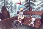 1girl arrow_to_the_knee blue_hair blush boa_(brianoa) bound bound_wrists bow character_request chestnut_mouth copyright_request crossover feet_out_of_frame forest fur_trim grey_legwear grey_shirt hair_between_eyes hair_bow hairband highres large_bow meme nature pantyhose plank pointy_ears red_bow red_eyes red_hairband red_skirt shirt short_hair short_sleeves sitting skirt snow solo_focus stuffed_animal stuffed_bunny stuffed_toy sweatdrop the_elder_scrolls the_elder_scrolls_v:_skyrim twitter_username