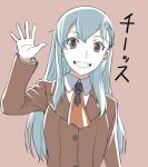 1girl :d blue_hair brown_background brown_jacket eyebrows_visible_through_hair grey_eyes grin hair_ornament hairclip hand_up ishii_hisao jacket kantai_collection long_sleeves looking_at_viewer neckerchief open_mouth orange_neckwear simple_background smile solo suzuya_(kantai_collection) upper_body waving