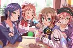 4girls :3 :o abe_nana apron bangs beige_jacket black_hair black_headwear blue_eyes blue_jacket blue_sailor_collar blue_serafuku blush bow bowtie breasts brown_hair collarbone collared_shirt commentary_request crossed_arms cup double_v drinking_straw earrings eyebrows_visible_through_hair fang food french_fries green_eyes grin hair_between_eyes hair_ornament hair_ribbon hairclip haruki_(haruki678) hat hayami_kanade head_tilt headphones headphones_around_neck holding holding_cup horned_headwear idolmaster idolmaster_cinderella_girls indoors jacket jewelry jougasaki_mika large_breasts light_particles long_sleeves looking_at_viewer maid_apron maid_dress multicolored_hair multiple_girls neckerchief necktie odd_one_out one_eye_closed open_clothes open_jacket parted_bangs pink_hair pink_ribbon plant ponytail potted_plant purple_jacket red_bow red_neckwear redhead ribbon sailor_collar shirt short_hair sidelocks sleeves_past_wrists smile streaked_hair table tada_riina upper_body v v_over_eye white_shirt window yellow_eyes yellow_neckwear |d
