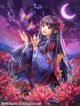 1girl :d back_bow bangs black_hair blue_kimono blunt_bangs bow bug butterfly crescent_moon eyebrows_visible_through_hair field floating_hair floral_print flower flower_field hair_ribbon insect interitio japanese_clothes kimono long_hair long_sleeves looking_up moon night open_mouth pink_bow print_kimono purple_sky red_eyes red_flower red_ribbon ribbon seisen_cerberus shiny shiny_hair smile solo very_long_hair wide_sleeves