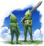 black_eyes blue_sky closed_mouth clouds cloudy_sky commentary cup day drinking_straw english_commentary eye_contact fantasy grass height_difference highres holding holding_cup holding_sword holding_weapon looking_at_another mcgmark no_humans original outdoors over_shoulder signature sky smoothie standing sword sword_over_shoulder weapon weapon_over_shoulder