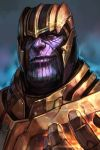 1boy armor closed_mouth gloves hankuri helmet looking_at_viewer marvel purple_skin simple_background smile solo thanos yellow_eyes