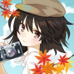 1girl autumn_leaves black_hair blue_background blush branch brown_eyes brown_headwear cabbie_hat camera fingernails from_side hat holding holding_camera kanta_(pixiv9296614) leaf looking_at_viewer maple_leaf shameimaru_aya shirt short_hair smile solo touhou upper_body white_shirt
