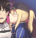 1boy 1girl ahoge artoria_pendragon_(all) baseball_cap black_headwear blonde_hair blue_jacket blush boa_(brianoa) brown_hair closed_eyes collared_jacket drooling eyebrows_visible_through_hair fate/grand_order fate_(series) from_side fujimaru_ritsuka_(male) hat highres imminent_kiss jacket mysterious_heroine_x open_mouth parted_lips ponytail profile purple_background sleeping twitter_username white_jacket