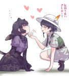 2girls animal_ears black_gloves black_hair black_jaguar_(kemono_friends) black_legwear black_neckwear black_skirt blush bow bowtie captain_(kemono_friends_3) chin_tickle closed_eyes collared_shirt commentary_request elbow_gloves extra_ears eyebrows_visible_through_hair fur_collar gloves hat_feather heart helmet high-waist_skirt jaguar_ears jaguar_girl jaguar_print jaguar_tail kemono_friends kemono_friends_3 khakis multiple_girls neck_ribbon pith_helmet pleated_skirt print_gloves print_legwear print_skirt purple_shirt ribbon seiza shirt shoes short_hair short_sleeves shorts sitting skirt sneakers socks squatting tail thigh-highs tmtkn1 translation_request uniform