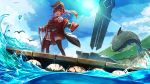 1girl absurdres armpits bird clouds coat commentary_request eyepatch hat highres hololive houshou_marine namako_(namacotan) ocean open_mouth pirate_hat red_eyes redhead shark sky solo sun telescope thigh-highs virtual_youtuber water watercraft