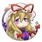 1girl avatar_icon blonde_hair blush bow chamaji check_commentary close-up commentary_request eyebrows_visible_through_hair eyes gap hair_between_eyes hair_ribbon hat hat_ribbon jitome long_hair looking_at_viewer looking_back lowres mob_cap ribbon sidelocks signature simple_background smile solo touhou tress_ribbon upper_body violet_eyes white_background yakumo_yukari