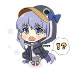 !? 1girl animal_hood artist_name bangs black_jacket blue_bow blue_eyes blush bow chibi colored_shadow commentary_request eyebrows_visible_through_hair fate/grand_order fate_(series) full_body grey_footwear hair_between_eyes hood hood_up hooded_jacket jacket long_hair long_sleeves looking_at_viewer meltryllis meltryllis_(swimsuit_lancer)_(fate) open_mouth penguin_hood popo_(popopuri) purple_hair shadow sleeves_past_fingers sleeves_past_wrists solo spoken_interrobang standing star upper_teeth very_long_hair wavy_mouth white_background