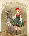 1girl animal bandana bangs blonde_hair blouse blush boots bow braid brown_footwear cobblestone cross-laced_footwear donkey dress floral_print flower grass hair_bow hair_flower hair_ornament hair_over_shoulder hat head_scarf holding holding_flower kuga_tsukasa lace lace-trimmed_collar lace-up_boots long_sleeves looking_at_viewer no_socks original pack_animal pansy parted_lips poppy_(flower) red_bow reins road skirt smile solo striped striped_skirt swept_bangs traditional_clothes tree twin_braids vertical-striped_skirt vertical_stripes walking white_blouse wing_collar