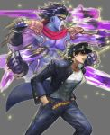 1boy absurdres belt black_gloves black_hair blue_coat blue_headwear chain coat collarbone covered_navel deepmaru fingerless_gloves gloves grey_background hands_in_pockets hat highres jojo_no_kimyou_na_bouken kuujou_joutarou muscle open_mouth orange_eyes parted_lips pauldrons punching simple_background star_platinum stardust_crusaders teeth veins violet_eyes