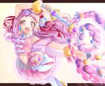 1girl :d crop_top cure_yell detached_sleeves earrings floating_hair hair_ornament hair_ribbon heart heart_hair_ornament highres holding holding_staff hugtto!_precure jewelry long_hair looking_at_viewer midriff miniskirt navel open_mouth outstretched_arm pink_eyes pink_hair pink_skirt pink_sleeves pleated_skirt precure red_ribbon ribbon shiny shiny_hair short_sleeves simple_background skirt smile solo staff stomach very_long_hair white_background white_legwear yuutarou_(fukiiincho)