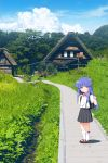 1girl backpack bag bangs black_skirt blue_hair blue_sky blush bow brown_footwear closed_mouth clouds collared_shirt day dress_shirt eyebrows_visible_through_hair furude_rika gaou higurashi_no_naku_koro_ni house kneehighs long_hair looking_at_viewer outdoors path pink_bow pink_eyes pleated_skirt randoseru shadow shirt shoes short_sleeves skirt sky smile solo standing suspender_skirt suspenders very_long_hair white_legwear white_shirt