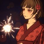 1girl bangs braid brown_hair closed_mouth collarbone crown_braid flower hair_flower hair_ornament japanese_clothes kimono lens_flare moshimoshibe niijima_makoto persona persona_5 print_kimono red_eyes red_flower red_kimono red_rose rose short_hair smile solo upper_body