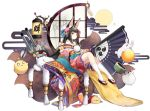 1girl animal_ears azur_lane bare_shoulders black_hair boqboq crescent crescent_hair_ornament fan folding_fan fox_ears fox_tail hair_ornament highres holding japanese_clothes kimono kneehighs long_hair looking_at_viewer machinery multiple_tails nagato_(azur_lane) nagato_(guardian_fox's_shining_furisode)_(azur_lane) off-shoulder_kimono official_art simple_background sitting solo tail tiara transparent_background turret weibo_logo weibo_username white_background white_legwear yellow_eyes
