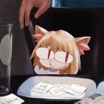 <|>_<|> animal_ears blonde_hair cat_ears chair commentary_request english_text fate/grand_order fate_(series) fur glasses hands head_tilt kyou-chan looking_to_the_side medium_hair meme nekoarc nervous notes o3o paper plate red_eyes sweat sweatdrop table tagme translation_request whistle woman_yelling_at_cat