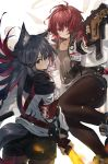 2girls absurdres animal_ear_fluff animal_ears arknights armband ass black_hair brown_eyes brown_legwear commentary earrings exusiai_(arknights) from_behind grin gun hair_over_one_eye highres id_card jewelry long_hair looking_at_viewer looking_back multiple_girls pantyhose red_eyes redhead short_hair siki_00 smile sword tail texas_(arknights) weapon wolf_ears wolf_tail