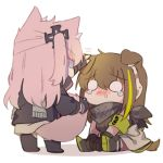2girls animal_ears blank_eyes blush brown_hair cat_ears cat_tail chibi dog_ears dog_tail english_commentary eyebrows_visible_through_hair fingerless_gloves girls_frontline gloves green_hair headphones jacket long_hair m4a1_(girls_frontline) multicolored_hair multiple_girls pink_hair simple_background sitting st_ar-15_(girls_frontline) streaked_hair tail tearing_up two-tone_hair white_background yuutama2804