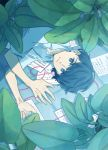 1boy blue_eyes blue_hair collared_shirt expressionless highres leaf looking_at_viewer lying original paper pink_string plant sheet_music shirt short_hair short_sleeves solo string white_shirt yutsukidayo