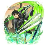 1boy alternate_hairstyle bangs black_coat black_eyes black_gloves black_hair black_pants dual_wielding fingerless_gloves gloves hair_between_eyes highres holding holding_sword holding_weapon kirito_(sao-alo) long_sleeves male_focus official_art open_mouth pants pointy_ears shiny shiny_hair solo sword sword_art_online transparent_background weapon