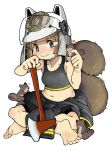 1girl arknights barefoot bike_shorts brown_eyes brown_hair cheek_squash chinese_commentary commentary_request feet fire_axe helmet indian_style menla midriff navel shaw_(arknights) sitting soles sports_bra squirrel squirrel_tail tail white_background
