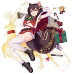 1girl allenes animal_ears armpits arms_up aurora azur_lane bag bell blush boots box breasts brown_hair candy candy_cane capelet christmas elbow_gloves fang food gift gift_box gloves hair_bell hair_ornament manjuu_(azur_lane) medium_breasts midriff navel official_art open_mouth skin_fang smile squirrel_ears squirrel_girl squirrel_tail star tail thigh-highs tongue tongue_out torpedo transparent_background under_boob wakaba_(azur_lane) wakaba_(holiday_special_wakaba!)_(azur_lane)