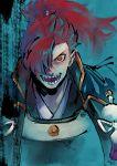 1boy armor fate/grand_order fate_(series) hair_over_one_eye koha-ace long_hair male_focus mori_nagayoshi_(fate) nishiyama_(whatsoy) ponytail redhead sharp_teeth solo teeth yellow_eyes