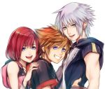 1girl 2boys blue_eyes brown_hair commentary_request green_eyes jewelry kairi_(kingdom_hearts) kingdom_hearts kingdom_hearts_iii looking_at_viewer medium_hair mim_(mimya0600) multiple_boys open_mouth redhead riku silver_hair simple_background smile sora_(kingdom_hearts) spiky_hair white_background