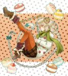 1girl bare_shoulders boots braid brown_eyes commentary_request dotted_background food green_scarf happy_new_year horns irouha leg_up long_braid long_hair macaron new_year orange_legwear original platinum_blonde_hair scarf sheep_horns skirt socks sweater