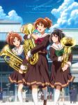 3girls :d :o bangs black_hair blue_sky blurry blurry_background brown_eyes brown_hair brown_skirt building buttons clouds day euphonium hair_ribbon hibike!_euphonium highres hisaishi_kanade holding holding_instrument instrument medium_hair multiple_girls nakagawa_natsuki official_art open_mouth oumae_kumiko outdoors ponytail ribbon school_uniform skirt sky smile standing violet_eyes white_legwear window