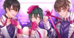 1other 2boys bangs bare_shoulders beret black_collar black_hair brown_eyes brown_hair chain character_request collar earrings eyebrows_visible_through_hair gloves green_hair hair_between_eyes half_gloves hand_up hat highres jewelry long_hair multiple_boys nijisanji one_eye_closed parted_lips pink_gloves pink_headwear purple_shirt red_eyes ryuushen shikino_yuki shirt sleeveless sleeveless_shirt smile strap_pull tilted_headwear tongue tongue_out upper_body virtual_youtuber white_shirt