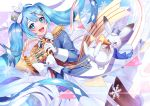 >_< 1girl :d animal argyle black_legwear blue_eyes blue_hair blue_headwear blush blush_stickers boots collared_shirt cowboy_shot dot_nose dutch_angle epaulettes eyelashes feathers floating_hair french_horn gloves hair_between_eyes hair_ornament hairclip hat hat_feather hatsune_miku holding holding_instrument instrument light_particles long_hair long_sleeves looking_at_viewer music musical_note musical_note_print open_mouth pantyhose peta_(snc7) pink_background playing_instrument pleated_skirt purple_background rabbit rabbit_yukine red_ribbon ribbon shiny shiny_hair shirt sidelocks simple_background skirt smile snow snowflake_print snowflakes solo string_of_flags striped striped_ribbon teeth trumpet twintails upper_teeth very_long_hair vocaloid white_background white_footwear white_gloves white_ribbon white_skirt x_hair_ornament yuki_miku yuki_miku_(2020)