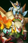 alternate_color black_background black_eyes chandelure chesnaught commentary creature defiant_drills english_commentary fire flame gen_1_pokemon gen_5_pokemon gen_6_pokemon highres on_shoulder pink_eyes pokemon pokemon_(creature) pokemon_on_shoulder riding riding_pokemon shiny_pokemon smile standing vaporeon watermark web_address
