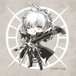 1boy :> :q blue_eyes charles_henri_sanson_(fate/grand_order) chibi fate/grand_order fate_(series) high_collar holding holding_sword holding_weapon koshika_rina licking_lips long_coat male_focus one_eye_closed solo sword tongue tongue_out weapon white_hair