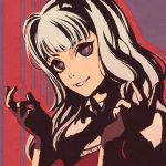 1girl black_gloves fang fang_out fingerless_gloves gloves grin idolmaster idolmaster_(classic) long_hair looking_at_viewer moshimoshibe shijou_takane silver_hair smile solo upper_body violet_eyes