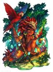 1girl barefoot bird black_eyes bodypaint braid brazil brazilian_folklore brown_hair caipora dark_skin facepaint flying forest full_body holding holding_spear holding_weapon long_hair nature parrot polearm signature spear spread_legs tied_hair tribal water weapon