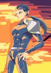 1boy blue_hair bodysuit cowboy_shot cu_chulainn_(fate)_(all) earrings fate/stay_night fate_(series) gae_bolg jewelry lancer limited_palette long_hair male_focus nishiyama_(whatsoy) pauldrons polearm ponytail red_eyes solo spear weapon