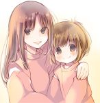 2girls arm_over_shoulder brown_eyes brown_hair child closed_mouth copyright_request detached_sleeves hug kuga_tsukasa long_hair looking_at_viewer multiple_girls smile sweater