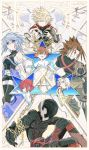 2girls absurdres ak_(tig72pnykkk) aqua_(kingdom_hearts) armor belt blonde_hair blue_hair brown_hair chain closed_eyes highres kingdom_hearts kingdom_hearts_birth_by_sleep mask multiple_girls outstretched_arm redhead riku serious short_hair short_shorts shorts silver_hair sora_(kingdom_hearts) star terra_(kingdom_hearts) thigh-highs vanitas ventus