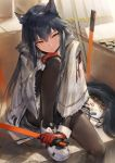 1girl animal_ears aos arknights black_hair black_legwear fur_trim hair_between_eyes highres holding holding_sword holding_weapon hood hooded_jacket jacket knee_to_chest long_hair pantyhose sheath shorts sitting solo sword tail texas_(arknights) very_long_hair weapon yellow_eyes