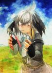 1girl bangs bird_wings black_gloves blonde_hair blue_sky closed_mouth clouds collared_shirt colored_pencil_(medium) commentary_request cowboy_shot feathered_wings fingerless_gloves gloves grey_hair grey_shirt grey_shorts head_wings highres kemono_friends layered_sleeves long_sleeves medium_hair multicolored_hair necktie outdoors seal_impression shirt shoebill_(kemono_friends) short_over_long_sleeves short_sleeves shorts sidelocks sky solo traditional_media walnut_(food) white_neckwear wings yellow_eyes yukiman