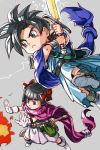 1boy 1girl black_hair bow brother_and_sister cape closed_mouth dragon_quest dragon_quest_v hair_bow hankuri hero's_daughter_(dq5) hero's_son_(dq5) short_hair siblings simple_background sword twins weapon