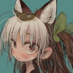 1girl :s animal_ears blue_background blush brown_eyes brown_hair closed_mouth ebimomo hair_leaf looking_at_viewer lowres multicolored_hair original portrait red_eyes simple_background solo two-tone_hair white_hair