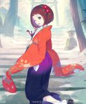 1girl :p arrow copyright_request flower green_eyes hair_flower hair_ornament hakama hamaya holding japanese_clothes long_sleeves nagisa_kurousagi official_art outdoors purple_hakama red_flower sandals short_hair socks solo stairs standing standing_on_one_leg stone_lantern tongue tongue_out torii tree watermark white_legwear wide_sleeves