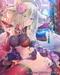 1girl angel_wings blonde_hair blurry blurry_background breasts breasts_apart cup detached_sleeves falkyrie_no_monshou feathered_wings flower hair_flower hair_ornament holding indoors long_hair long_sleeves looking_at_viewer medium_breasts pink_flower red_legwear red_sleeves sakazuki shiny shiny_hair shiny_legwear shiny_skin sideboob sitting solo soukuu_kizuna stomach thigh-highs white_wings wings