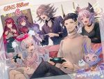 2boys 4girls anger_vein angry baal_(granblue_fantasy) black_hair blue_eyes bow brown_eyes choker closed_eyes collarbone contemporary couch cushion door euryale_(shingeki_no_bahamut) granblue_fantasy granblue_fantasy_versus hair_bow hair_ornament hannibal_(gbf) horns jewelry lavender_hair long_hair medusa_(shingeki_no_bahamut) multiple_boys multiple_girls necklace nezha_(granblue_fantasy) open_mouth pendant playing_games playstation_controller pointy_ears purple_hair red_eyes satyr_(granblue_fantasy) siblings silver_hair sisters sitting smile snake_hair stheno_(shingeki_no_bahamut) sweater turtleneck turtleneck_sweater very_long_hair violet_eyes wavy_hair